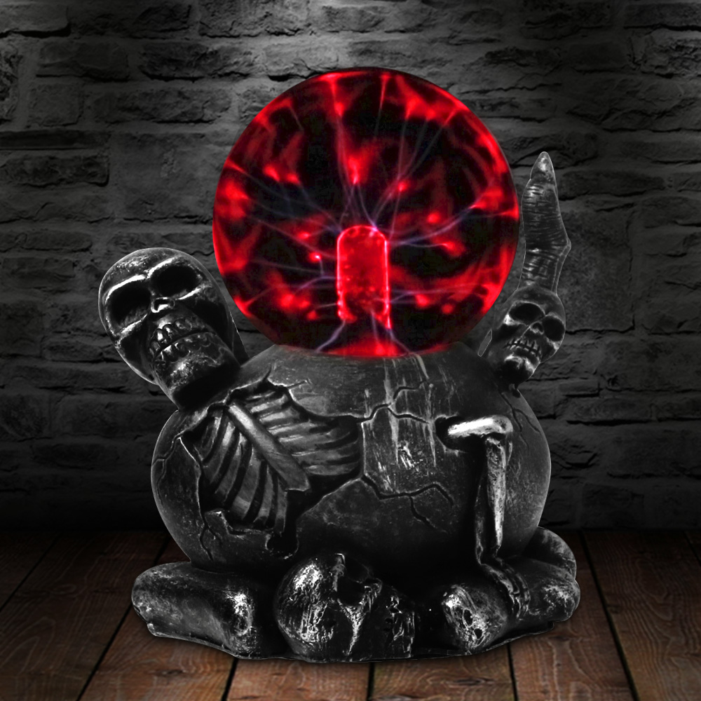 Black Claw Holding Skull Horror Lighting Plasma Ball Touch Responsive Desk Lamp Decorative Lighting Figruine Statue