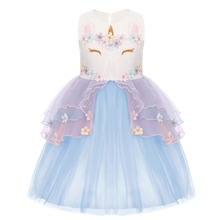 Unicorn Flower Girls Dress for Kid Children Birthday Party Cosplay Costume Princess Cute Kids Dresses