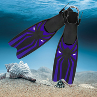 Adult Adjustable Swimming Fins Scuba Diving Snorkeling Foot Flipper Diving Long Fins Shoes Silicone Professional Diving Flippers