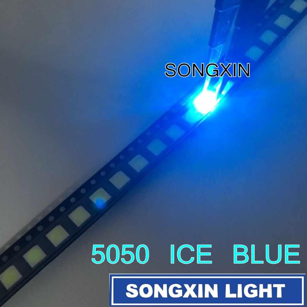 50 Buah 5050 Ice Blue SMD LED Plcc-6 SMD 5050 LED Diode Ice Blue Air Biru Jernih LED 5.0*5.0*1.9 Mm