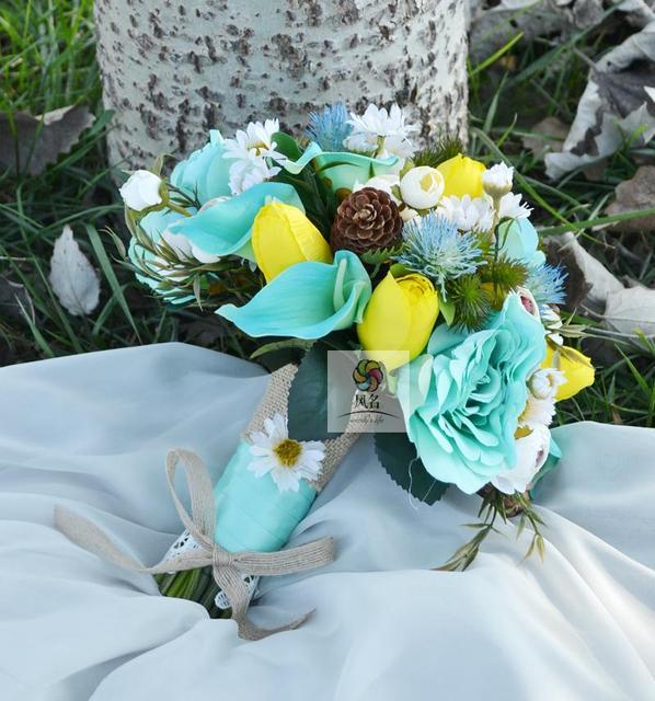 Diy yellow blue calla lily pine fruit roses bouquet simulation hand diy yellow blue calla lily pine fruit roses bouquet simulation hand holding flower wedding floral bride mightylinksfo