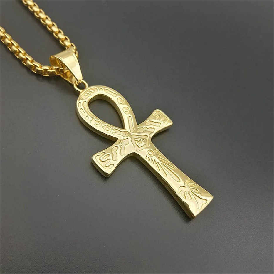 المصري عنخ الصليب سحر قلادة قلادة للرجال المفتاح من النيل الذهب اللون الفولاذ الصلب مصر مجوهرات