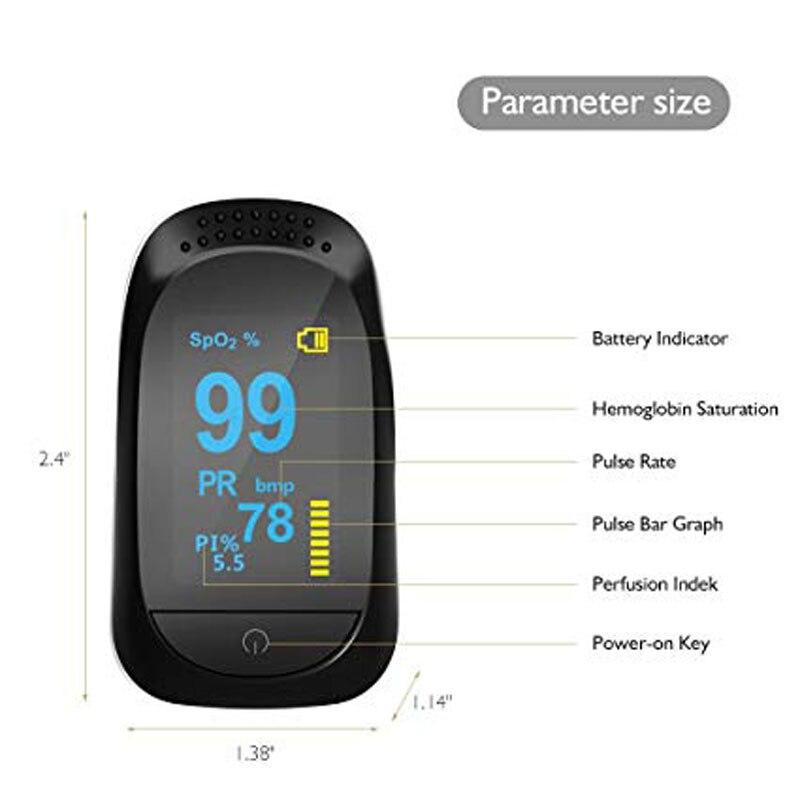 Monitor de Saturação de Oxigênio Dedo com Sensor Home Uso