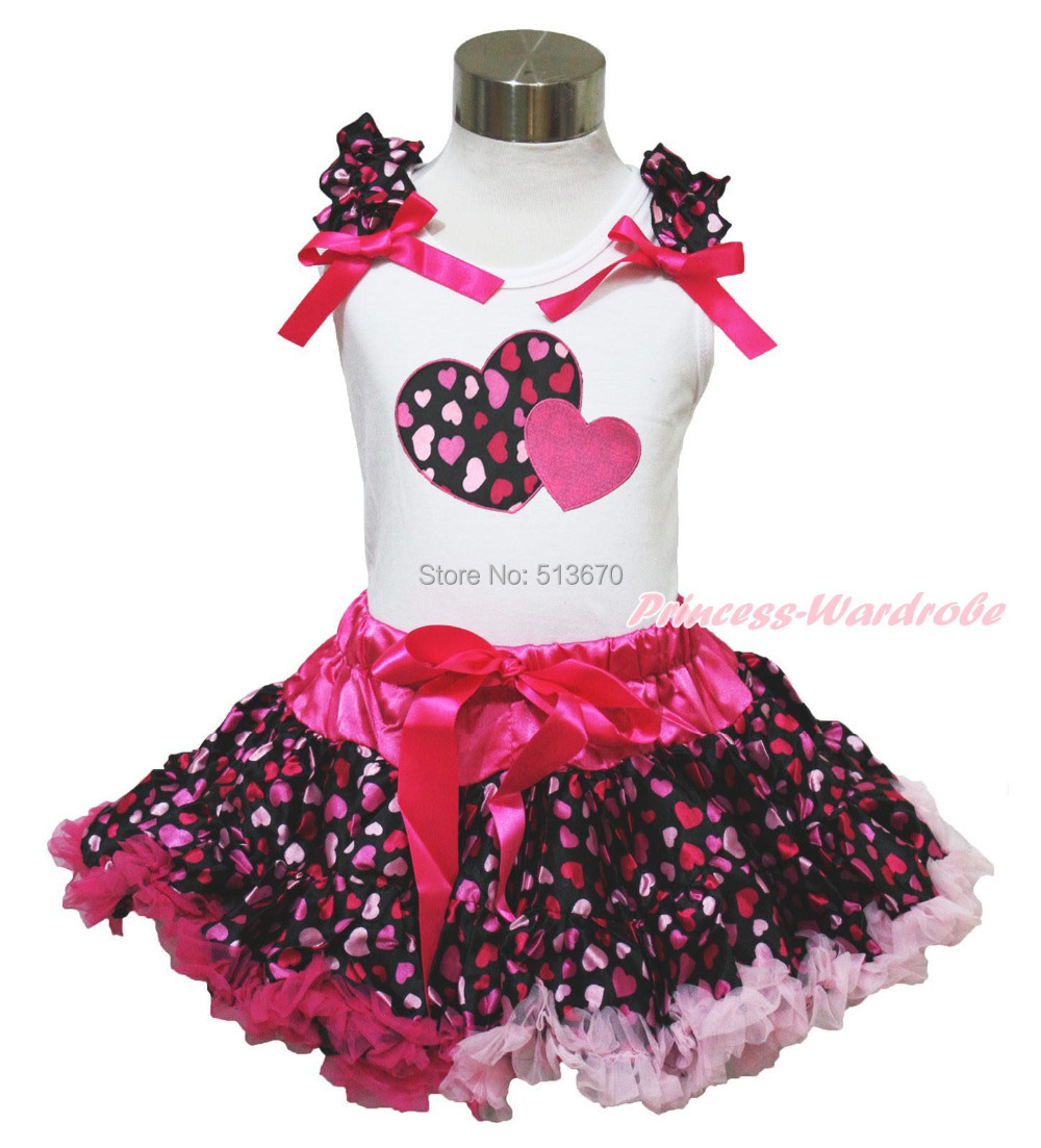 Valentine's Day Hot Pink Twin Heart White Top Baby Girl Pettiskirt Outfit 1-8Y MAPSA0328 xmas red orange yellow black roses brown top baby girl pettiskirt outfit 1 8y mapsa0038