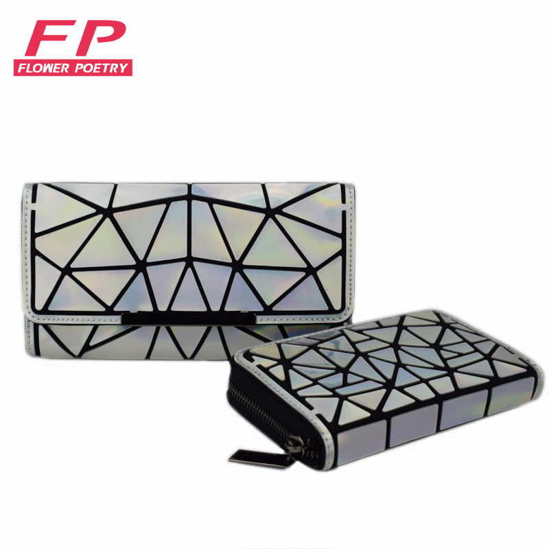 New Women Long Clutch Wallets Purse Geometry Luminous Diamond Lattice Standard Wallets Zipper Female Wallet Card Holder Carteira