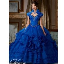 c6593d56f Vestidos de 15 Anos Del Grano Del Organza Rojo Azul Real Vestidos de Quinceañera  2016 Barato Vestidos Vestido de Debutante Vesti.