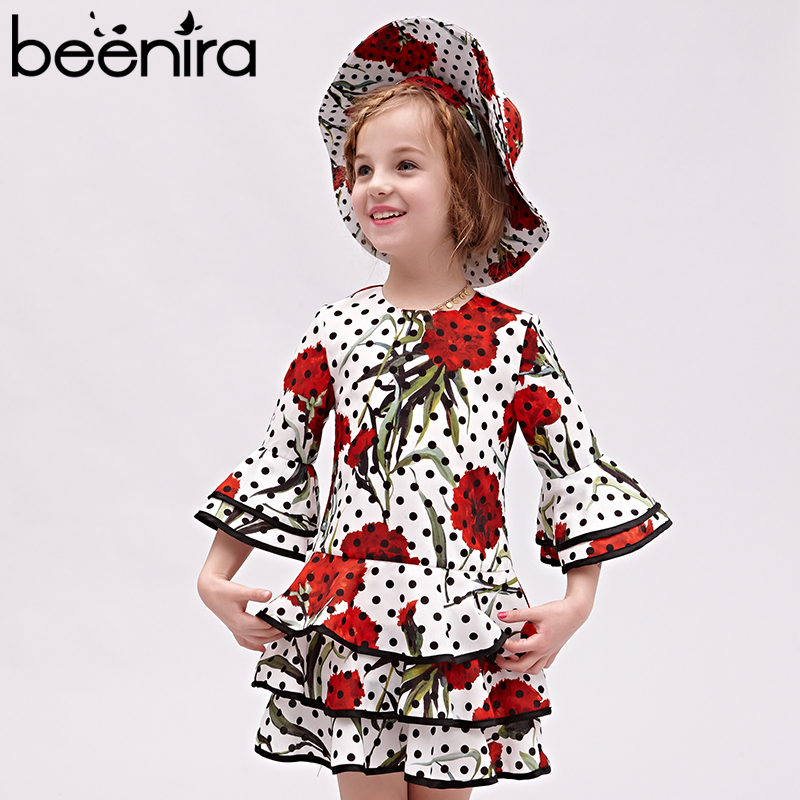 Beenira Kids Girls Dress 2017 New European And American Autumn Style Children FulL-Length Dot Pattern Dress 4-14Y Children Dress beenira girls dress 2017 new european and american style kids printed pattern long sleeve dress for 4 14y children autumn dress
