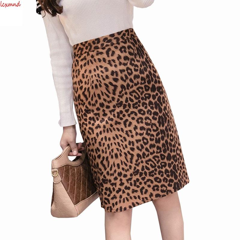 2019 Autumn and Winter New Suede Slim Women's Skirt High Waist Leopard Print Pencil Skirt Package Hip Faldas Mujer Moda Saia