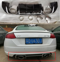PP Rear bumper Lip Diffuser With Stainless steel Exhaust Tips For Audi TT Standard MK3 Coupe 2 Door 2015 2017 TTRS style