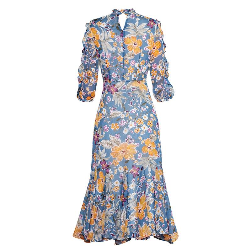 Fourreau Demi Floral Designer Manches Pour Mode Qualité Date De Piste Imprimé Femmes 2019 Robe Supérieure Charme Sx6PqRwZ