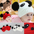 Hot Sale Newborn Baby Wool Cute 100% Hand Knitted Mix Coffee White Red Panda Infant Hat 0-5months Baby about 21cmx17cm-1 Pcs