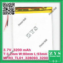 Security Packing (Degree four) three.7V 3200mah (polymer lithium ion battery) Li-ion battery for pill computer 7 inch MP3 MP4 [328093] 308090