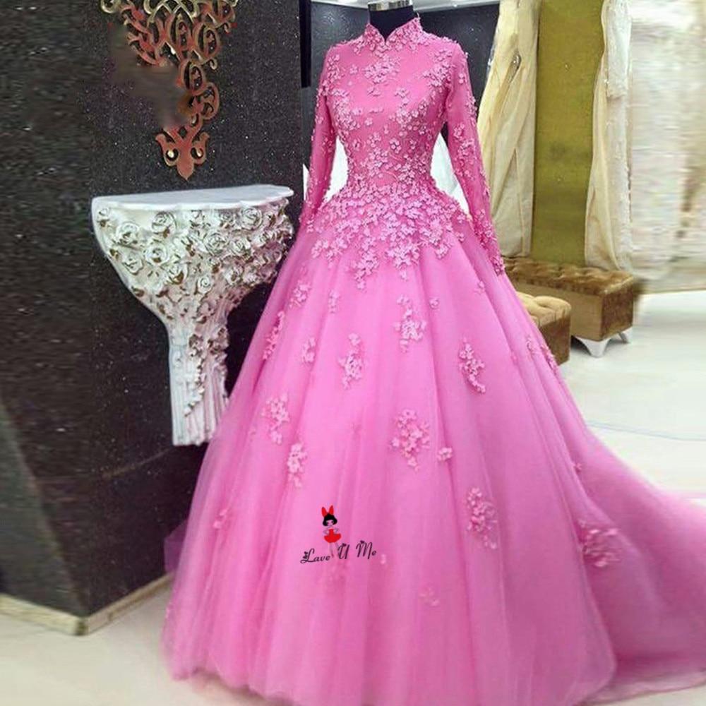 Saudi Arabia Muslim Wedding Dress High Neck Long Sleeve Evening Dress Ball Gown Bridal Dresses Lace Wedding Gowns Abiti Da Sposa
