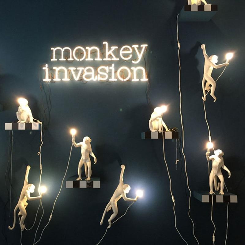 Supply Modern Black Italy Seletti Lampe Hemp Rope Pendant Lights Animal Monkey Hanglamp Living Room Children's Room Luminaire Suspendu