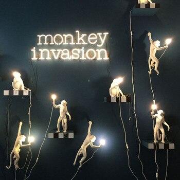 Moderne noir italie SELETTI Lampe chanvre corde pendentif lumières Animal singe Lampe à main salon chambre d'enfants luminaire suspendu