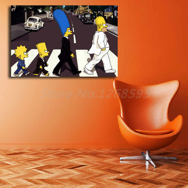 Simpsoning Abbey Road Bart Homer Marge Kanvas Lukisan Cetak Ruang Tamu Dekorasi Rumah Modern Dinding Seni Lukisan Cat Minyak Poster Karya Seni