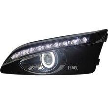 EOsuns Innovador COB Ángel de ojos + LED luz corriente diurna DRL + halógeno Lámpara de La Niebla con la Lente Del Proyector para chevrolet aveo de sonic