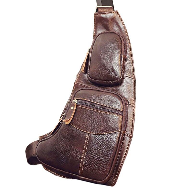 Image 3 - Leather Vintage Sling Bag Handbags for Men Travel Fashion Cross Body Messenger Shoulder Chest Bag High Quality Day PackCrossbody Bags   -