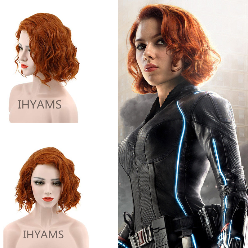 The Avengers Black Widow Natasha Romanoff Short Orange Curly Synthetic Hair Cosplay Wig + Wig Cap