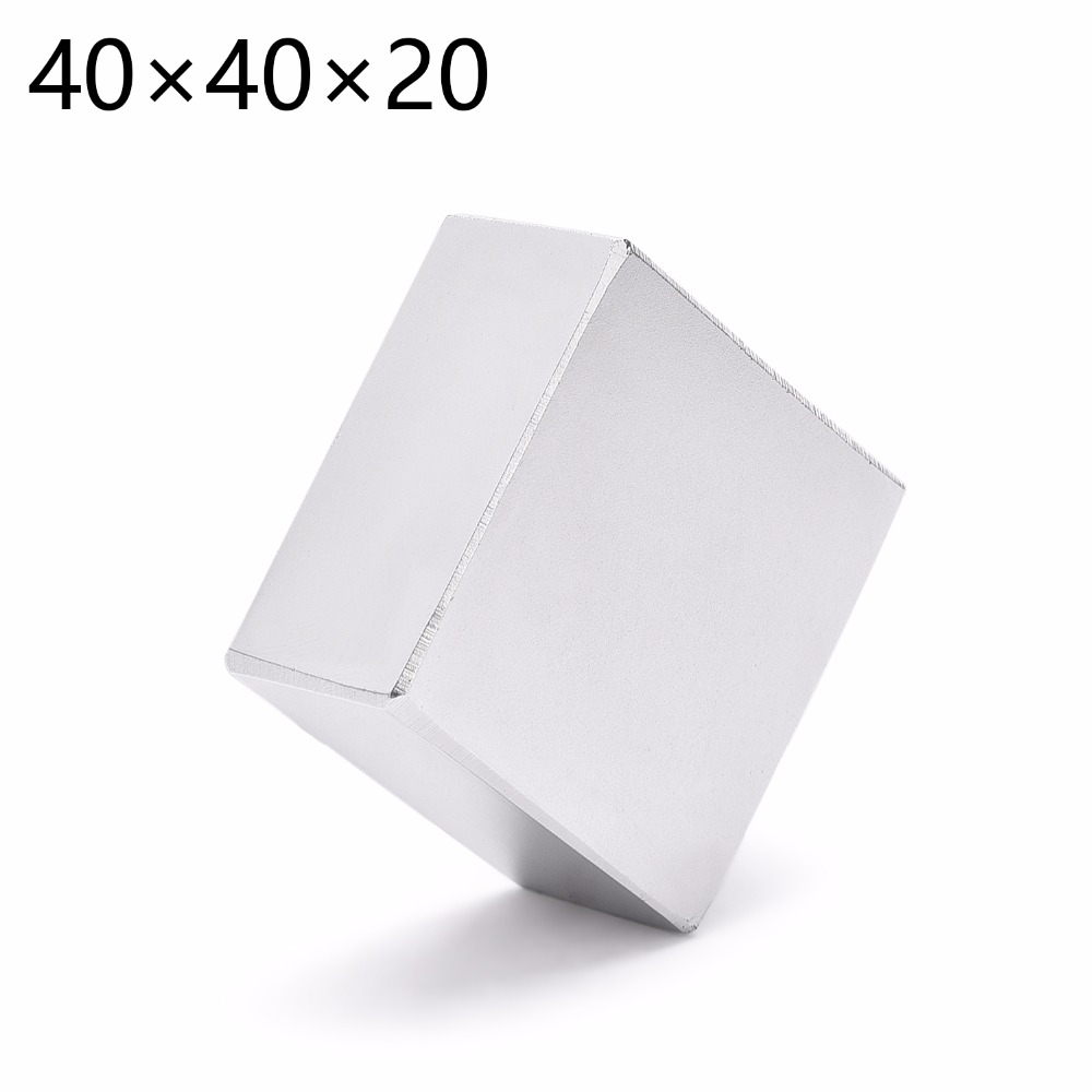 2pcs 40mm x 40mm x 20mm Powerful Strong Rare Earth Block NdFeB Neodymium Magnet Permanent Magnet 40*40*20 40x40x20 (39*39*19) 5 x 20mm cylindrical ndfeb magnet silver 20pcs pack