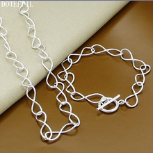 Hot Sales 925 Sterling Silver Simple Chain Necklace Bracelet For Women Charm Necklace Bracelet Jewelry S229 charm silver round necklace bracelet women fashion 925 sterling silver jewelry necklace bracelet simple jewelry