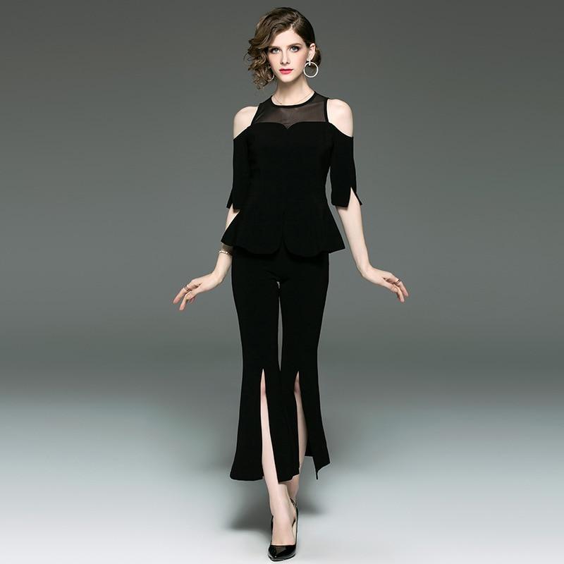Pant Suits Women Spring Summer New Fashion Mesh Patchwork Off the shoulder Tops + Split Flare Pants Black 2 PCS Sets