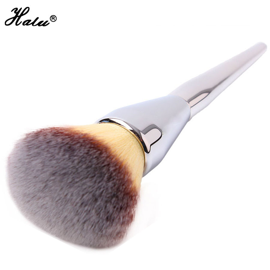 Halu Single Silver Contour Makeup Brushes Synthetic Hair Large Powder Blush Brush Liquid Foundation Cosmetic Make Up Brush