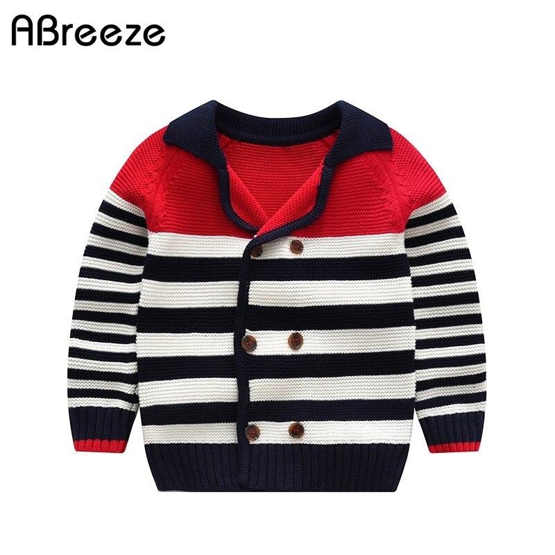 1-5 Jahre Kleinkind Jungen Pullover Jacke Herbst Winter Kinder Zweireiher Stripped Pullover Mäntel Casual Outwear Ohne RüCkgabe
