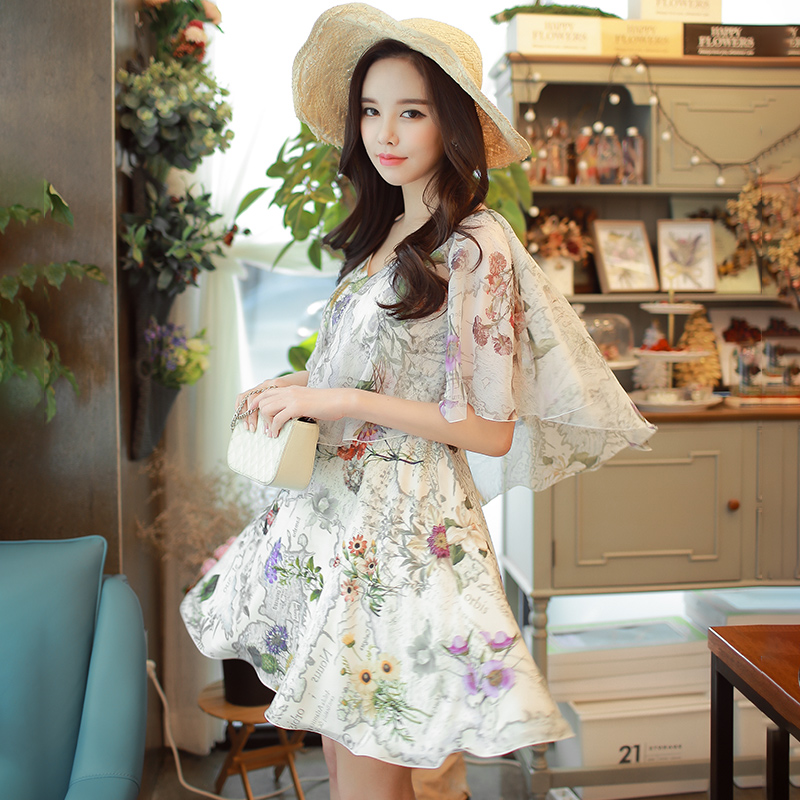 Dabuwawa New Women Ladies Elegant V Neck Floral Print Summer Dress Fashion Boho High Waist Midi