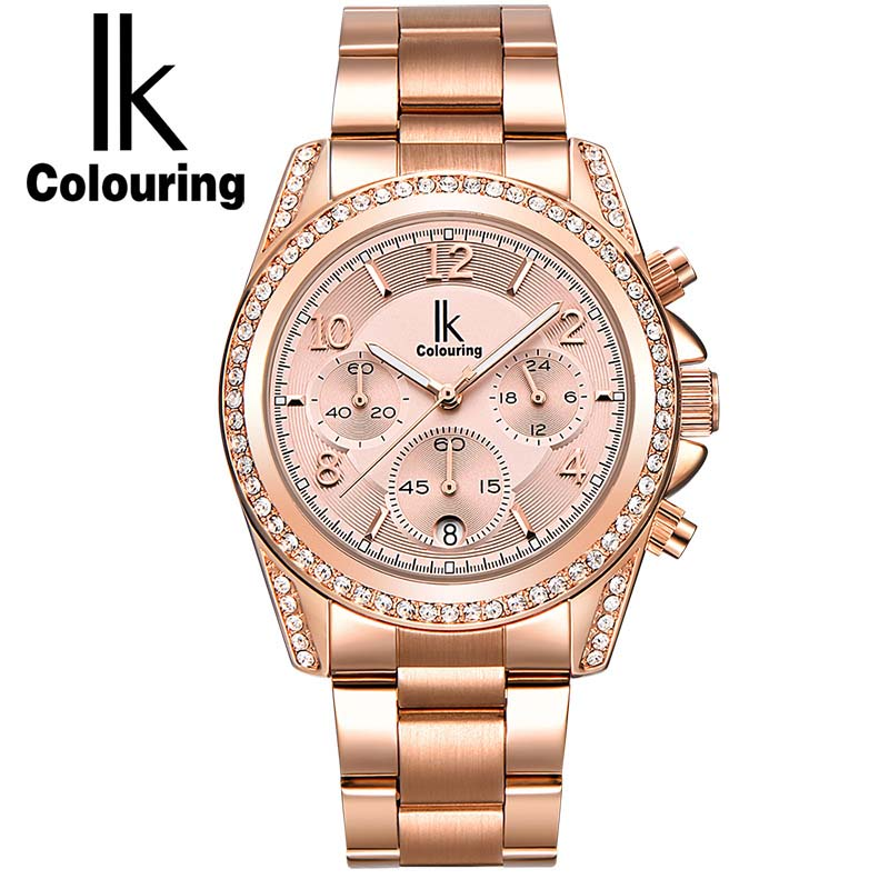 ФОТО IK colouring Rose Gold Women Watch Chronograph Sub Dial Full Steel Crystal Rhinestone Fashion Dress Auto Date Quartz Watches