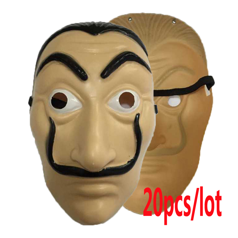 wholesale 20pcs/lot Plastic Dali mask La Casa De Papel Cosplay Props Halloween Yacht Carnival Dance Party Face Shield
