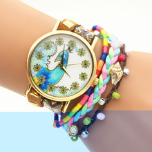 The fashion color peacock men and women`s top brand luxury quartz colock watch wool strap A48  wrist watches reloj mujer