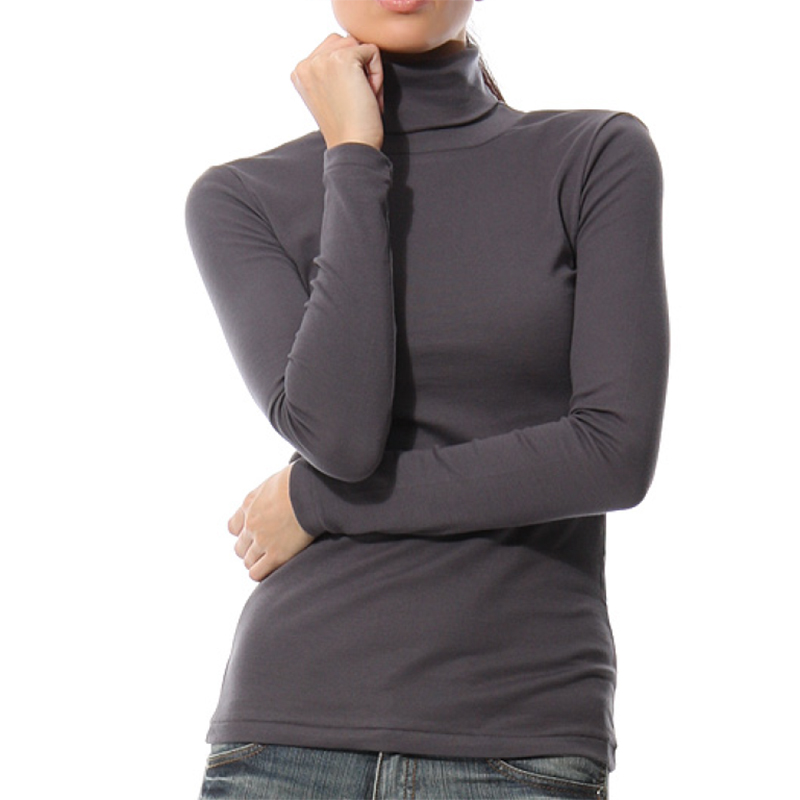 KalvonFu Hot Sale Women Turtleneck T shirts Long Sleeve