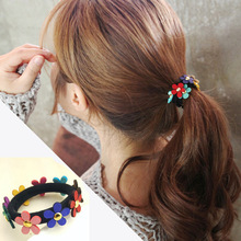 1PCS Girls Floral Elastic Hair Bands Fashion Headwear Flower For Women Hair Ties Ponytail Hair Accessories Rubber Band Headdress