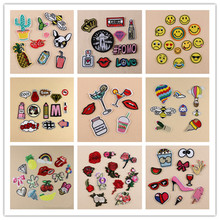 1/setLetter Rainbow Heart Unicorn Cat Patch Iron On Cartoon Patches Set Cute Cheap Embroidered For Kids Clothes