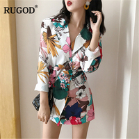 RUGOD 2018 Fashion Floral Blazers Jacket Women Notched Long Coat Plus Size Sexy Female Jacket with Sashes Befree casaco feminino