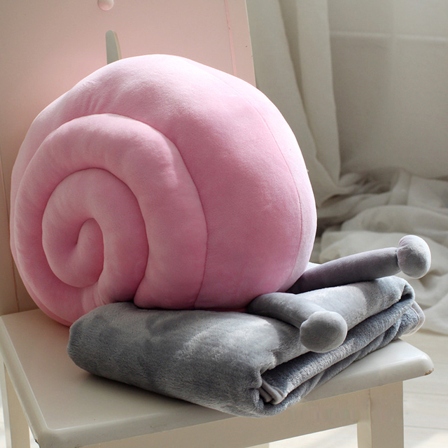 Creative Snail Blanket Set Throw Pillows Cute Doll Emoji Sofa Car Decorative Soft Cushion