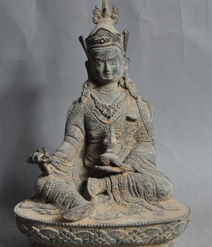 """8""""old chinese buddhism bronze fane Padmasambhava Guru Rinpoche buddha god statue"""