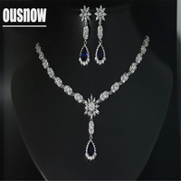 Fashion Luxury Jewelry 925 Silver Set Pendant Necklace and Earring Set of crystal from AustrianTeardrop shaped style party