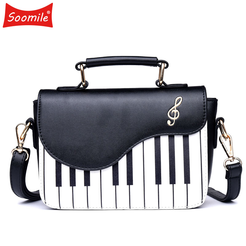 Soomile Fashion Women Handbag Piano Pattern Pu Leather Young Woman Shoulder Bag Girls Small Crossbody Pouch Totes 2019 New