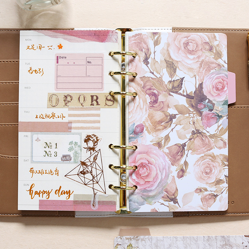 Creative Vintage Flower Spiral Notebook Index Pages 6 Holes Planner Dividers For Lovedoki Diary Book Stationery