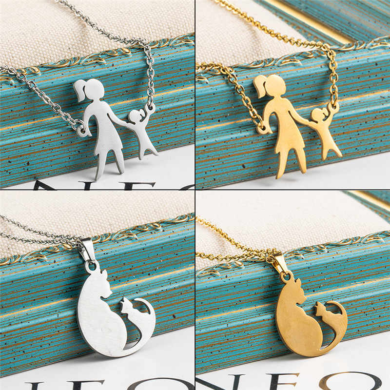fashion Multiple Silver golden cute cat Stainless steel necklace chain choker necklaces women fine Jewlery accessories Gift 2019