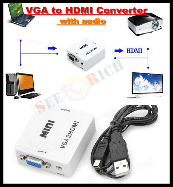 Mini HD 1080P Audio VGA To HDMI HD HDTV Video Converter Box Adapter USB font b