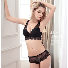 Fashion underwear lace bra set deep V-neck push up to collect the furu adjustable 4 breasted female plus size bra set