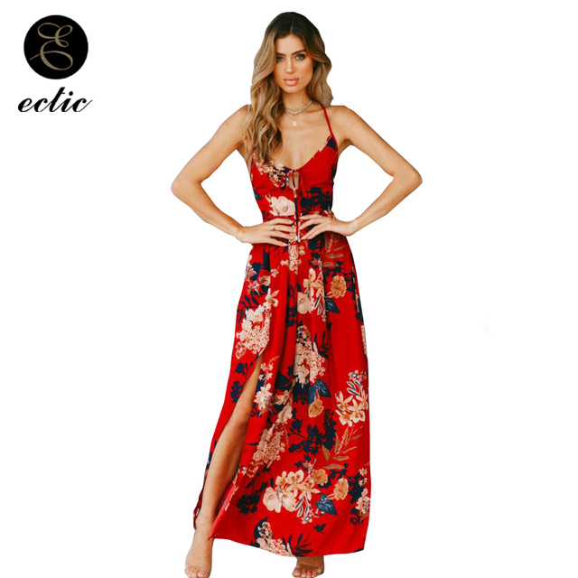 Boho Chic Style Sukienka Elegant Sleeveless Backless Maxi Dress Women Robe  Ete 2018 Bandage Dress Side 7aef62f49216