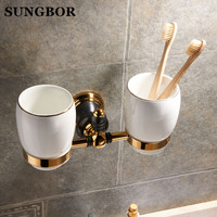Golden Brass Double Cup Holder Luxury Style Golden Copper Toothbrush Double Tumbler Cup Holder Wall Mount