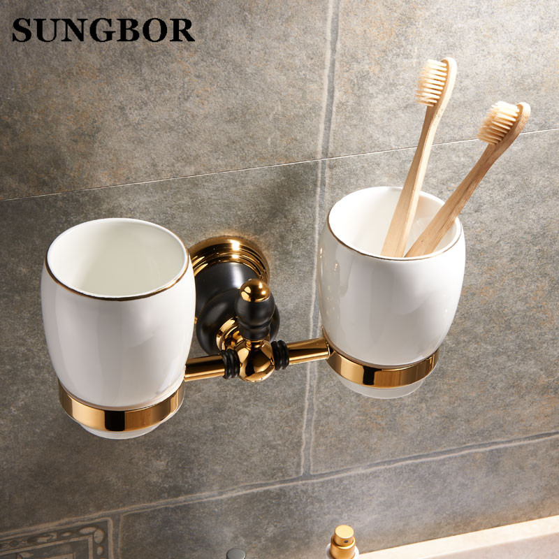 Golden brass double cup holder luxury style Golden copper toothbrush double tumbler&cup holder wall mount bath product SJ-8102K pvd ti golden brass gold double tumbler holder cup