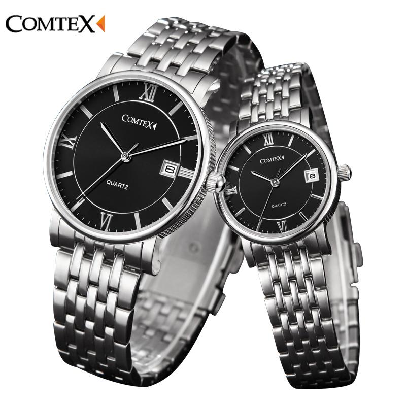 Prix pour COMTEX Hommes femmes montre 2016 de luxe De Mode Couple Montres Classique Montre à Calendrier Casual Analogique Quartz date Montre-Bracelet pour les amateurs