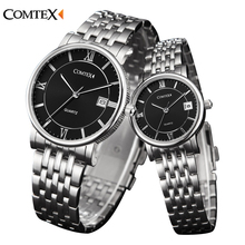 COMTEX Men women watch 2016 luxury Fashion Couple Watches Classic Calendar Watch Casual Analog Quartz date Wristwatch for lovers
