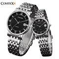Comtex moda casal relógios das mulheres dos homens assistir 2016 luxo clássico calendário relógio casual analógico quartz date relógio de pulso para amantes